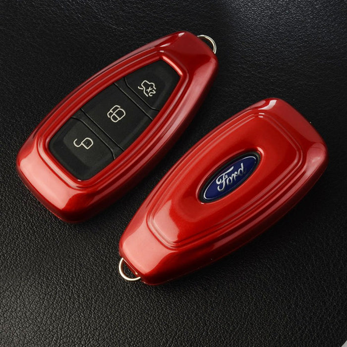 (1) Exact Fit Gloss Metallic Black or Red Smart Remote Key Fob Shell For 2011-2017 Ford Fiesta, 2012-2017 Ford Focus, 2013-2016 C-MAX (Only Fit 2/3-Button Key)-iJDMTOY