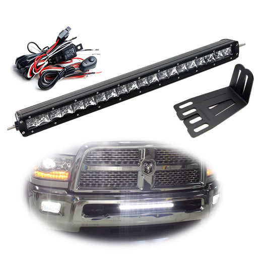 "Lower Grille Mount 20"" LED Light Bar Kit For 2003-2018 Dodge RAM 2500 3500, Includes (1) 100W High Power CREE LED Lightbar, Lower Bumper Opening Mounting Brackets & On/Off Switch Wiring Kit-iJDMTOY"