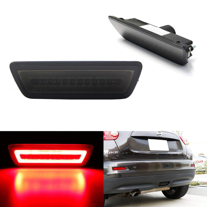 Red or Smoked Lens 3-In-1 LED Rear Fog Light Kit For 11-14 Nissan Juke, 14-up Rogue & 15-up Murano, Red LED Running Light Assembly Functions as Tail Brake Lamp & White LED Backup Reverse Lighting-iJDMTOY