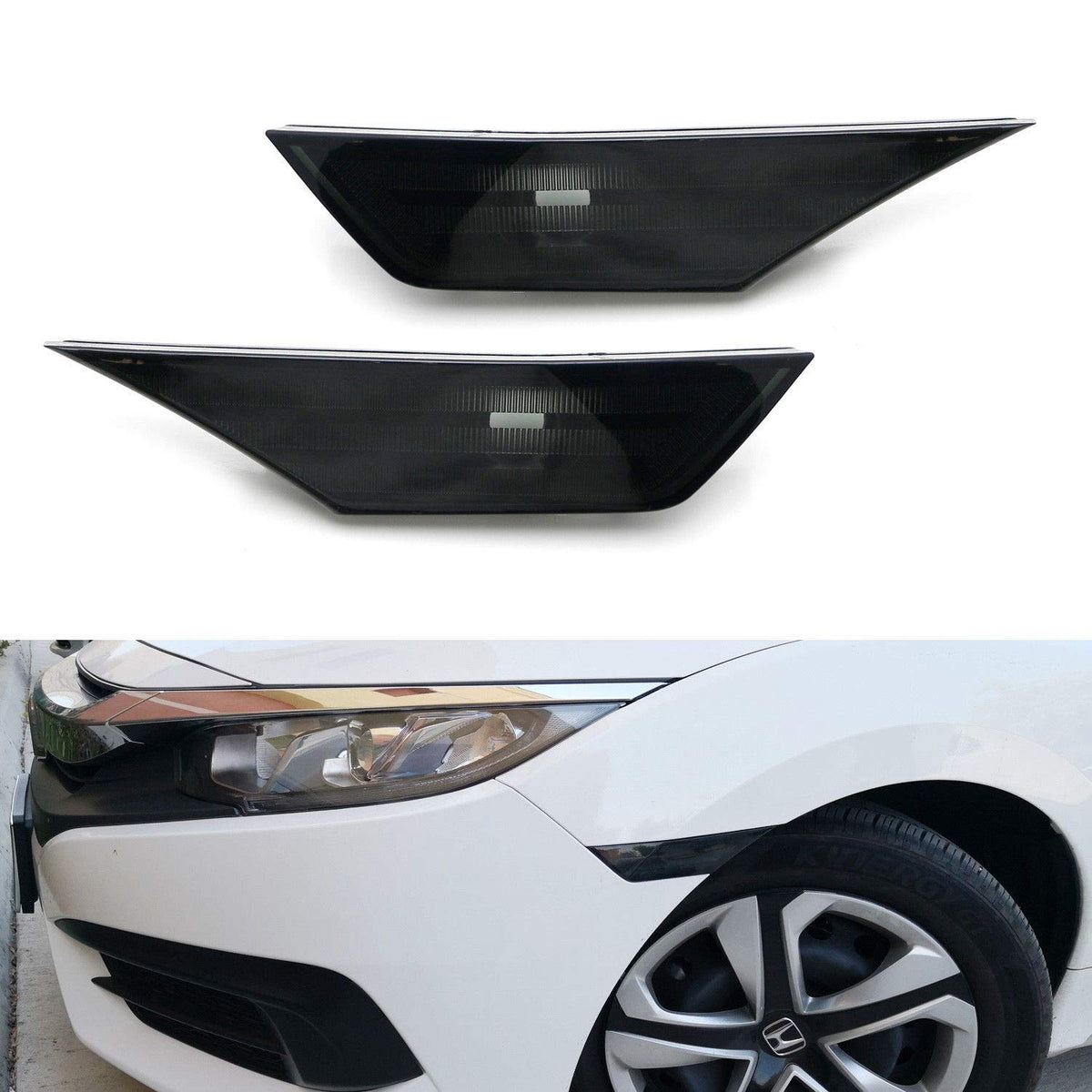 OE-Spec LH RH Assembly iJDMTOY Smoked Lens Rear Bumper Reflector Lenses For 2016-up Honda Civic Sedan//Coupe 10th Gen