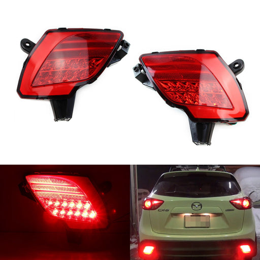 Red Lens LED Bumper Reflector Lights Assy For 2013-2016 Mazda CX-5, JDM Style Rear LED Tail Lamp Assembly Functions as Rear Fog Lights, Brake Lamp & Bumper Reflector-iJDMTOY
