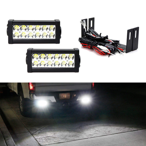 Rear Bumper Mount Searchlight Reverse LED Light Bar Kit For 2012-up Toyota Tacoma, 2014-up Tundra, (2) 36W High Power LED Lightbars, Bumper Frame Mounting Brackets & On-Off Switch Wiring-iJDMTOY