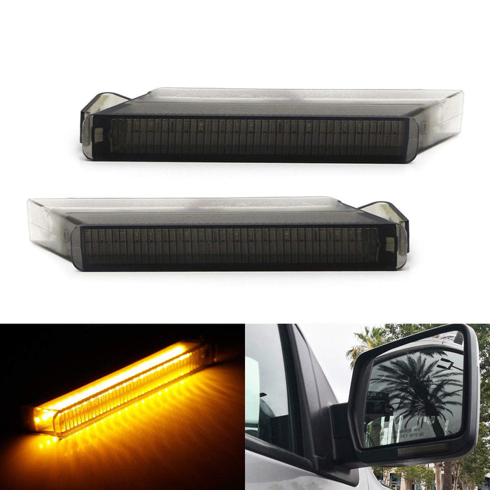 (2) Smoked Lens Amber LED Side Mirror Turn Signal Lamps For Ford F150 Expedition, Lincoln Mark LT (Powered by 24 Pieces of SMD LED Chips)-iJDMTOY
