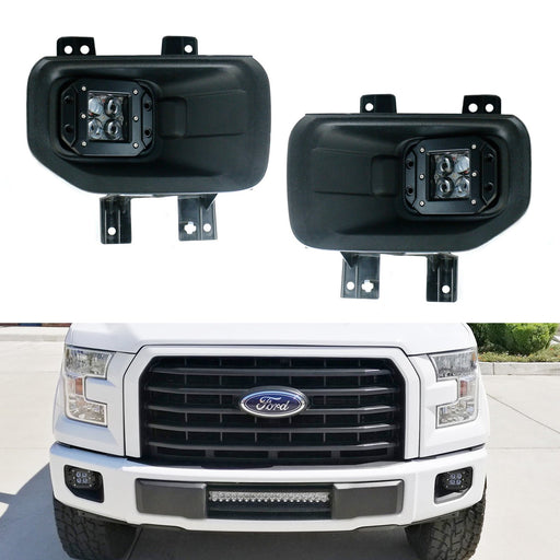 Projector LED Fog/Driving Lamp Kit For 15-up Ford F150, 17-up Super Duty, Includes (2) 10W 4D Projector Lens CREE LED Pod Lights, Pair of H10 Pigtail Wires & Hinge Brackets-iJDMTOY