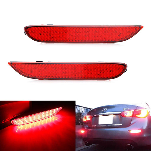 Red Lens 60-SMD LED Bumper Reflector Lights For Infiniti Q50 QX56 QX60 QX80 Nissan Pathfinder Rogue etc. Function as Tail, Brake & Rear Fog Lamps-iJDMTOY