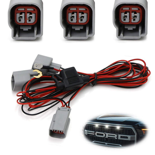 Raptor LED Grille Markers DRL Enable Wiring Harness For Ford Raptor Trucks, Turn LED Grill Lights Into Daytime Running Lights-iJDMTOY