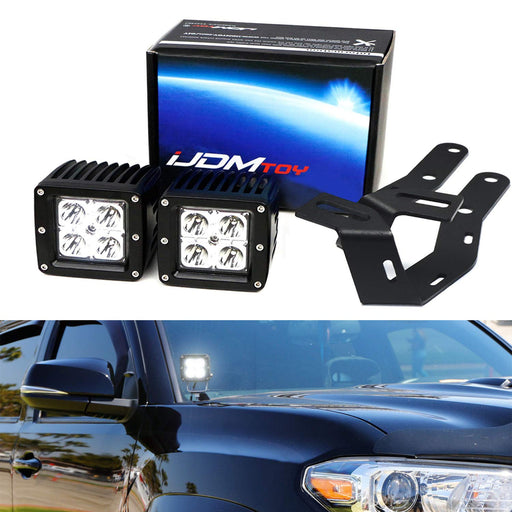 A-Pillar LED Pod Light Kit For 2016-up Toyota Tacoma, Includes (2) 20W High Power CREE LED Cubes, Windshield A-Pillar Mounting Brackets & On/Off Switch Wiring Kit-iJDMTOY