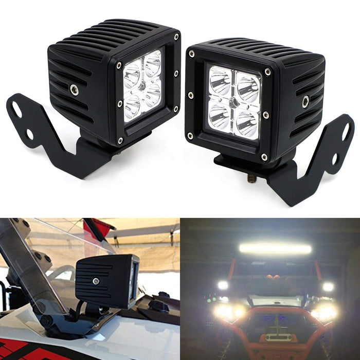 A-Pillar LED Pod Light Kit For 2014-up Polaris RZR XP 1000, 15-up RZR 900,  (2) 20W CREE LED Cubes, Windshield Mounting Brackets & Switch Wiring Kit