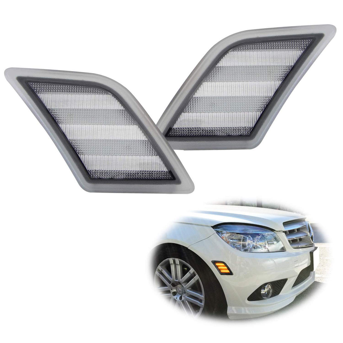 Amber Full LED Front Side Marker Light Kit For 2008-11 Mercedes W204 C250  C300 C350 & 2008-2013 C63 AMG, Powered by 48-SMD LED