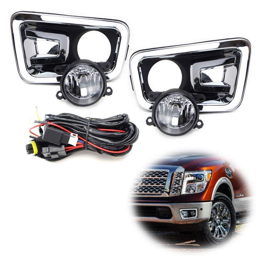 Clear Lens Fog Lights Foglamp Kit with Halogen Bulbs, Bezel Covers, On/Off Switch, Wiring Relay For 2017-up Nissan Titan, Titan XD-iJDMTOY