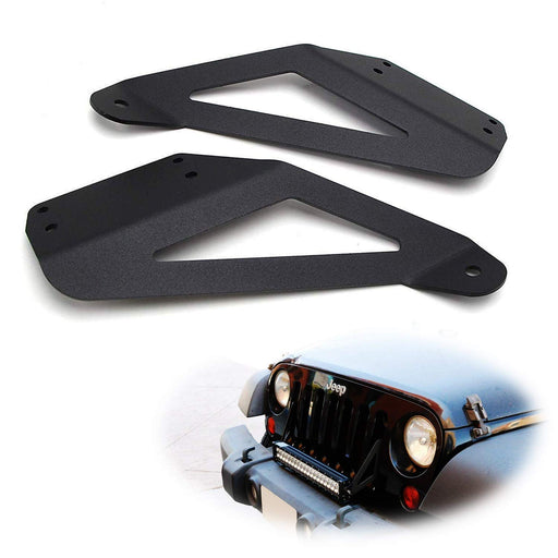 "07-17 Jeep Wrangler Front Grille Lightbar Mounting Brackets For 20-22"" Single/Double Row LED Light Bar-iJDMTOY"