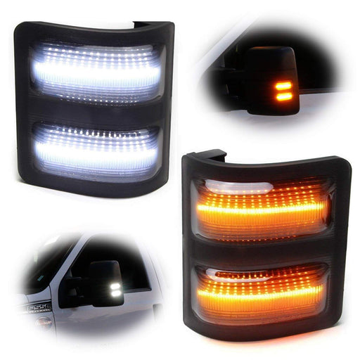 Switchback LED Side Mirror Marker Lamps For 2008-16 Ford F250 F350 F450 Super Duty, (2) Smoked Lens, White LED Parking Light, Amber LED Turn Signal Light-iJDMTOY