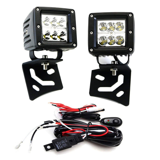 A-Pillar LED Pod Light Kit For 1997-2017 Jeep Wrangler TJ & JK, Includes (2) 24W High Power 2x3 CREE LED Cubes, Windshield A-Pillar Mounting Brackets & On/Off Switch Wiring Kit-iJDMTOY