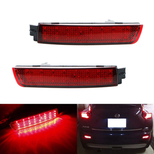 Red Lens 48-SMD LED Bumper Reflector Lights For Infiniti FX35 FX50 QX70 Nissan Juke Murano Sentra etc. Function as Tail, Brake & Rear Fog Lamps-iJDMTOY