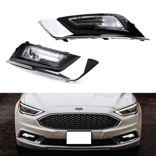 LED Fog/Driving Lamp Kit For 2017-up Ford Fusion, OEM-Spec High Power LH RH LED Assembly w/ Foglamp Bezel Covers & On/Off Switch Wiring Kit-iJDMTOY