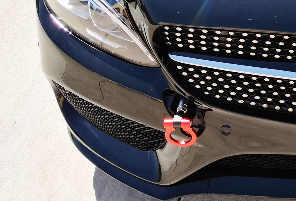 Red Track Racing Style Tow Hook Ring For Mercedes Benz W205 C-Class, X204  GLK-Class, X205 GLC-Class, W212 W213 E-Class & W166 GLE-Class