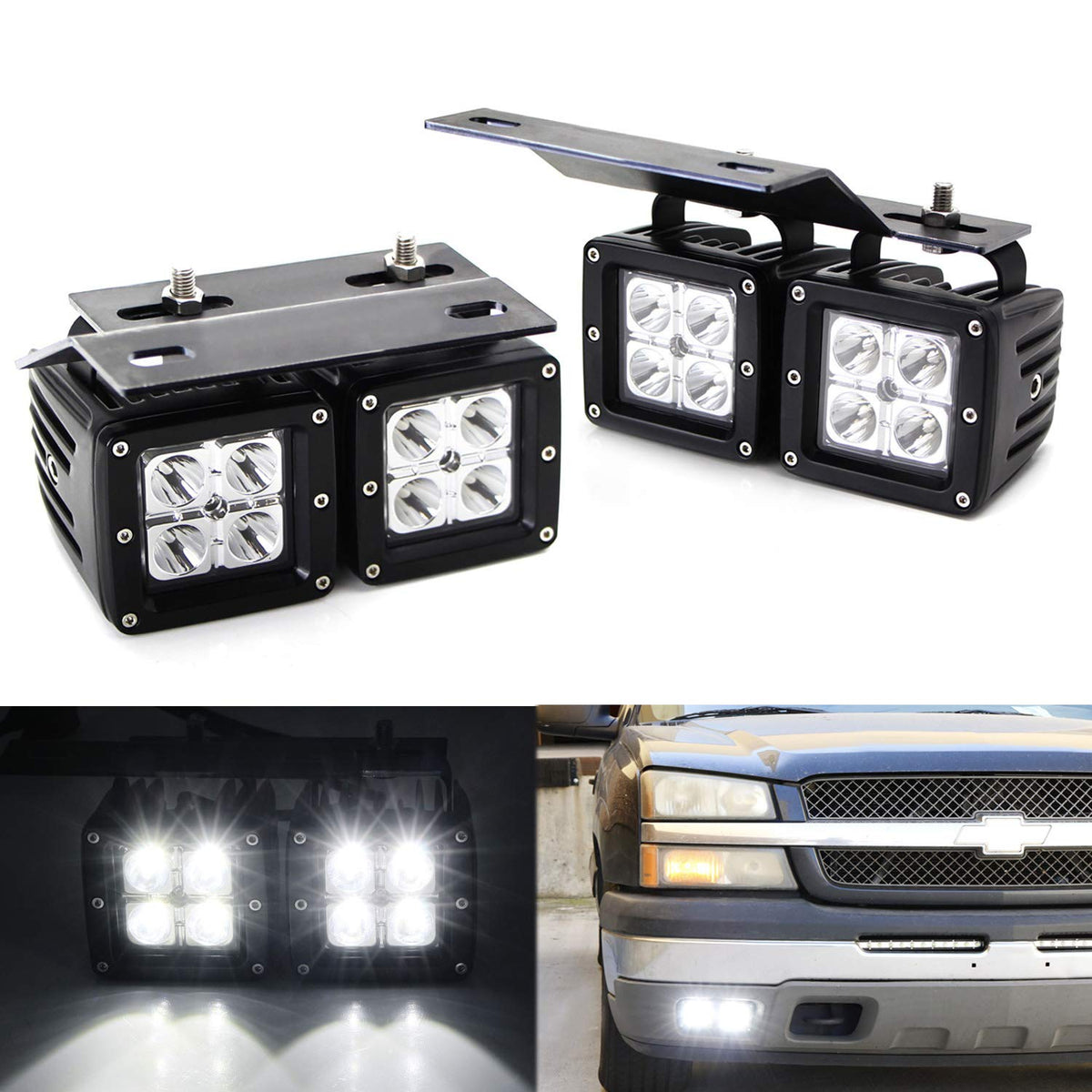 Dual LED Pod Fog Lamp Kit For 2002-06 Chevy Avalanche, 03-07 Silverado  Chevy Headlight Wiring on