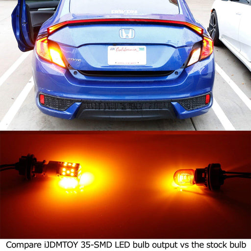 No Resistor, No Hyper Flash 21W High Power Amber 7507 PY21W LED Bulbs For Car Front or Rear Turn Signal Lights-iJDMTOY