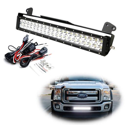 "Lower Grille 20"" LED Light Bar Kit For 2011-16 Ford F250 F350 Super Duty, Includes (1) 120W High Power LED Lightbar, Lower Bumper Opening Mounting Brackets & On/Off Switch Wiring Kit-iJDMTOY"