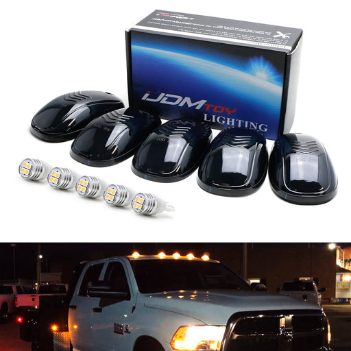 5pc Smoked Lens Amber or White LED Cab Rooftop Marker Lamps For Chevrolet Dodge GMC Ford RAM Nissan Toyota Trucks, 5-Piece Roof Running Light Set-iJDMTOY