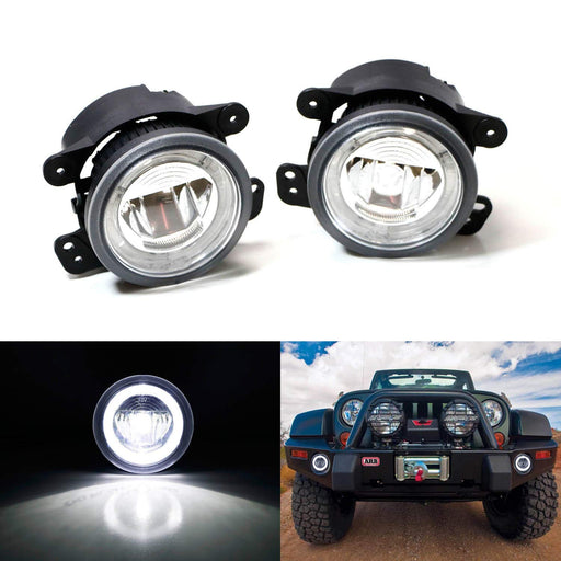 Xenon White LED Daytime Running/Fog Lamps For Jeep Wrangler Grand Cherokee Dodge Charger Magnum etc., (6) CREE XP-G LED Lights as Halo Ring DRL & (1) 10W CREE XB-D LED Light as Fog Light-iJDMTOY