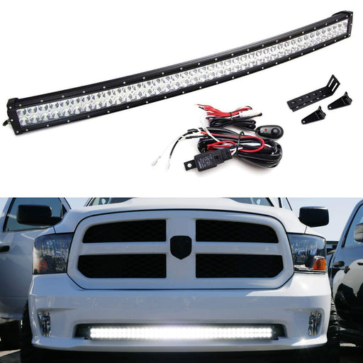 "Lower Grille Mount 40"" LED Light Bar Kit For 2009-up Dodge RAM 1500 Express w/Sport Bumper, Includes (1) 240W Curved LED Lightbar, Lower Bumper Opening Mounting Brackets & Switch Wiring Kit-iJDMTOY"