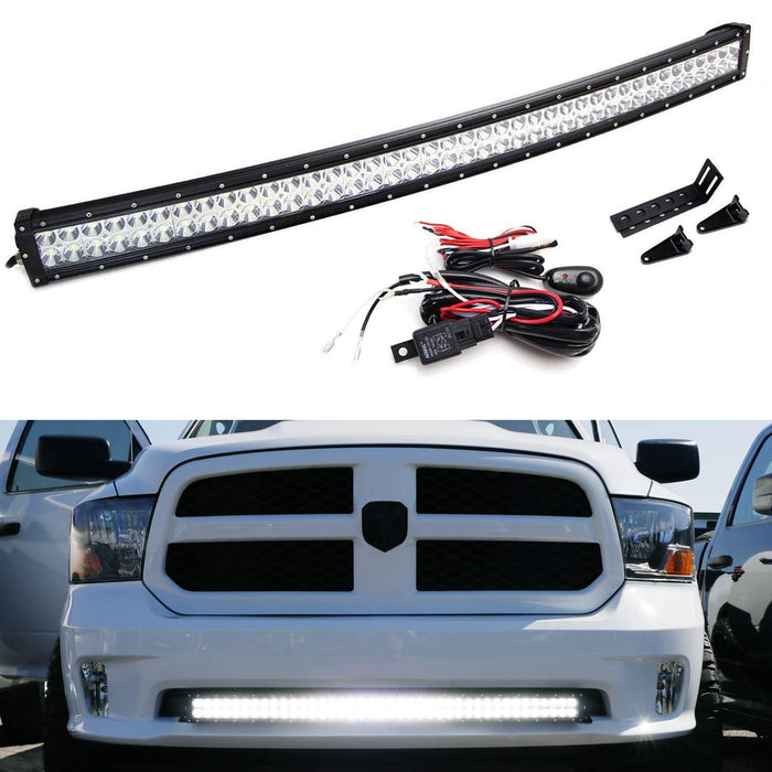 Lower Grille Mount 40 Led Light Bar Kit For 2009 Up Dodge Ram 1500 Express W Sport Bumper 1 240w Curved Led Lightbar Mounting Brackets Wiring