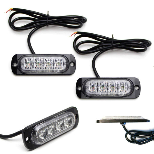 (2) Amber or Amber/White LED Strobe Warning Light Flashers For Truck, Jeep, 4x4, ATV, Construction Vehicles etc. Ultra Slim Extremely Bright Warning Lamps Each Powered by (4) High Power CREE LED Lights-iJDMTOY