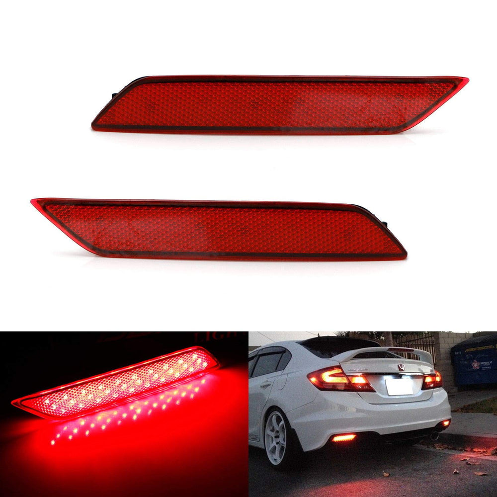 Red or Smoked Lens 60-SMD LED Bumper Reflector Lights For 13-15 Honda Civic Sedan, Function as Tail, Brake & Rear Fog Lamps-iJDMTOY
