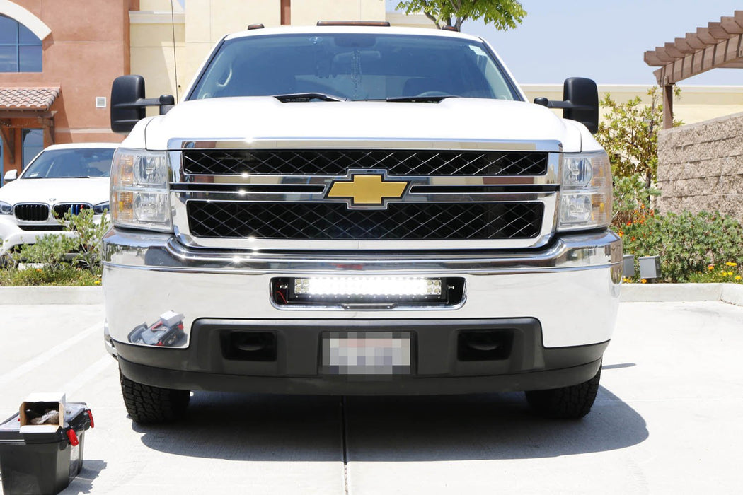 "Lower Bumper 20"" 120W LED Light Bar Kit For 2011-14 Chevy Silverado 2500HD 3500HD, Includes (1) Amber LED Strobe LED Lightbar, Lower Bumper Grille Mount Brackets & Relay Wiring On/Off Switch-iJDMTOY"