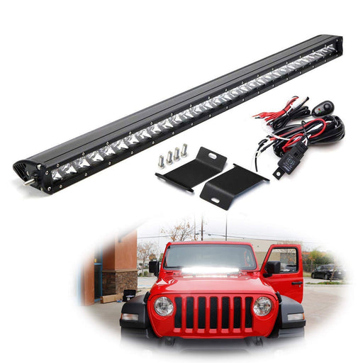"Hood Mount 30"" LED Light Bar Kit For 2018-up Jeep Wrangler JL, Includes (1) 150W High Power CREE LED Lightbar, Hood Mounting Brackets & On/Off Switch Wiring Kit-iJDMTOY"