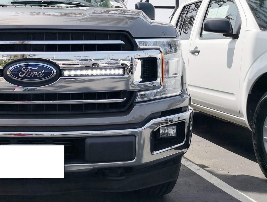 Front Grille Led Light Bar Kit For 2018 Up Ford F150 Xl Xlt 2 36w Slim High Power Cree Led Lightbars Front Grill Mounting Brackets Wiring