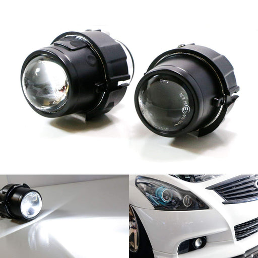 (2) OEM Replace Projector Fog Light Housings For Nissan Cube Juke Murano Quest Infiniti EX35 EX37 QX50 FX35 FX37 G25 G37 Q60 M37 M56 Q70 etc., HID or LED Ready (Bulbs Not Included)-iJDMTOY
