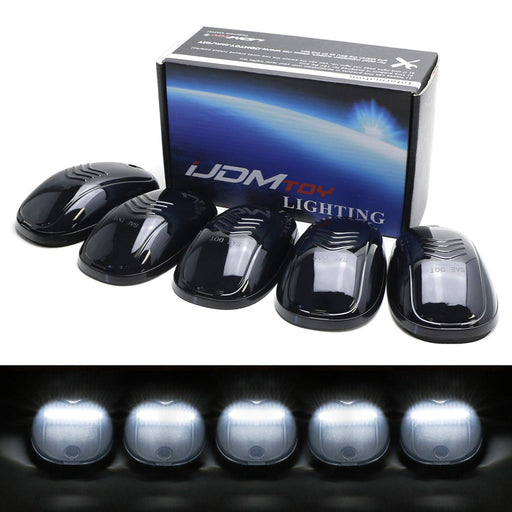 5pc Smoked Lens Cab Roof Clearance Marker Lamps w/ Xenon White Full Strip LED Lights For Chevy Dodge Ford GMC Heavy Duty or Super Duty Trucks-iJDMTOY