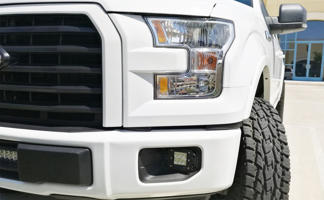 LED Fog/Lamp Driving Kit For 15-up Ford F-150 & 17-up Ford F-250 F-350, (2)  12W High Power CREE Xenon White LED Pod Lights & Set of Mounting Brackets