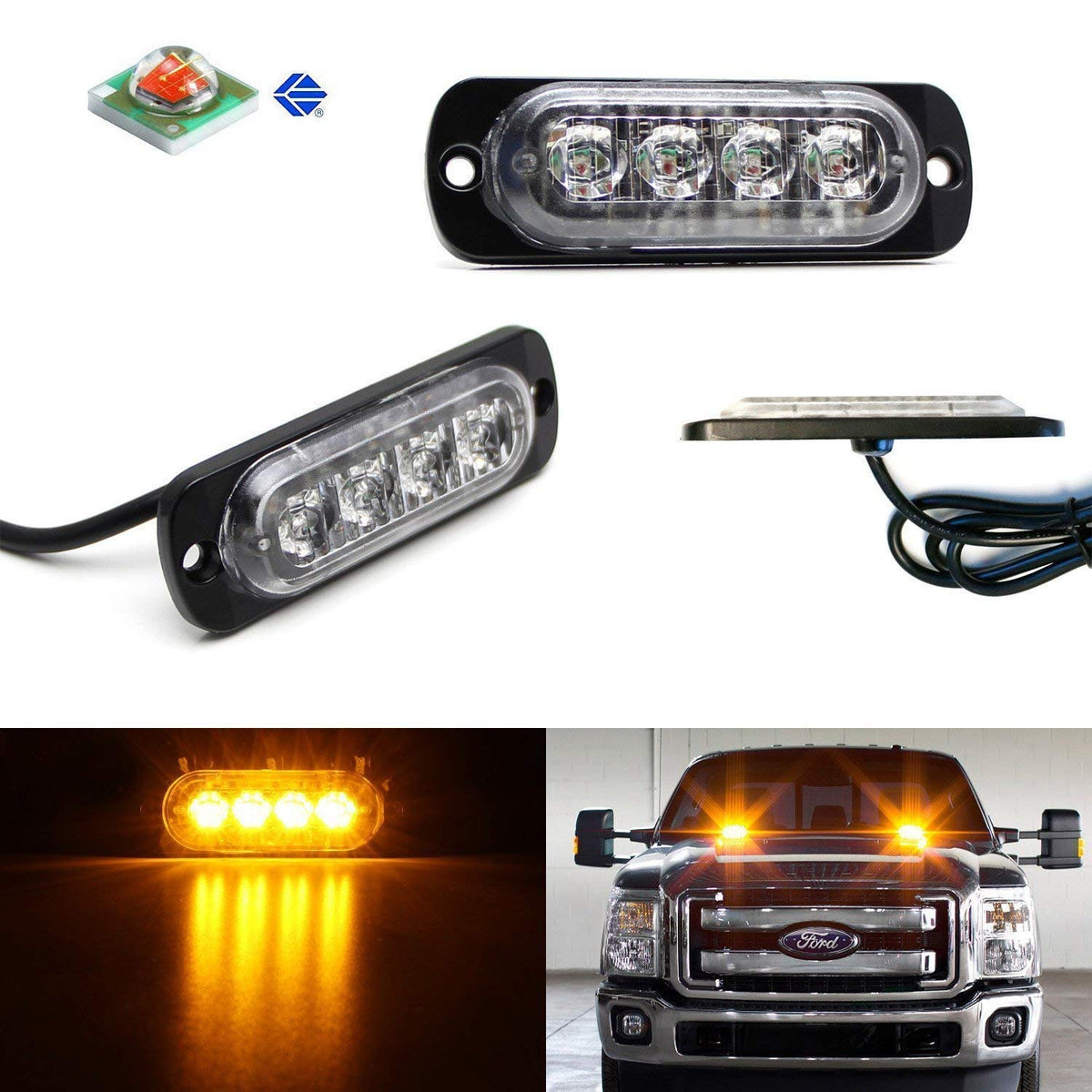 Led Strobe Lights For Trucks >> Ultra Slim Amber Or Amber White Led Strobe Warning Light Flashers For Truck Jeep 4x4 Atv Construction Vehicles Powered By High Power Cree Led