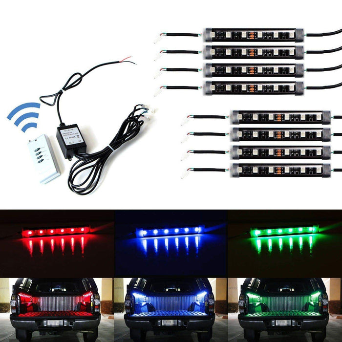 8-Piece Universal Fit 48-LED RGB Multi-Color Truck Bed Cargo Area LED Lighting Kit w/ Wireless Remote Control-iJDMTOY