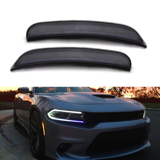 Smoked Lens Amber Full LED Front Side Marker Light Kit For 2015-up Dodge Charger, Powered by 80-SMD LED, Replace OEM Sidemarker Lamps-iJDMTOY
