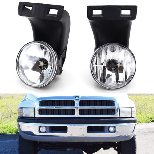 Complete Set Fog Lights Foglamps with 880 Halogen Bulbs For 2nd Gen 1994-2001 Dodge RAM 1500, 1994-2002 RAM 2500 3500-iJDMTOY