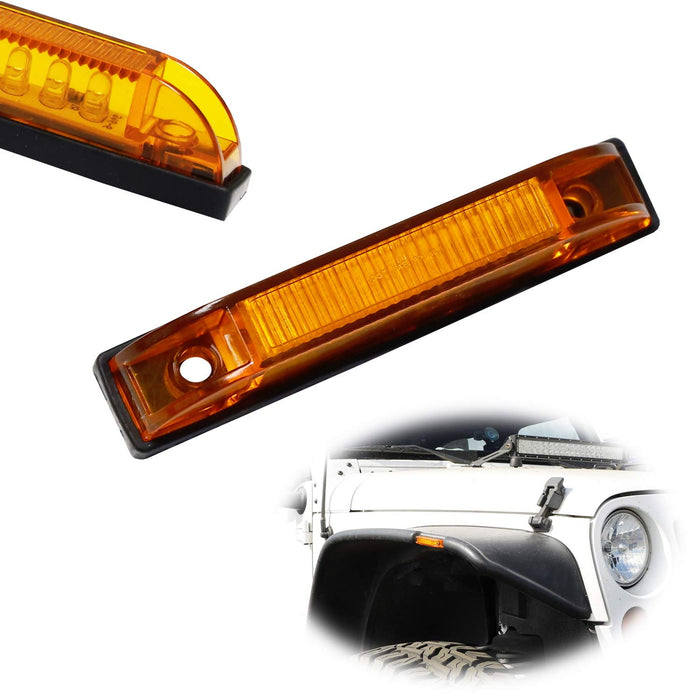 Amber or Smoked Lens 6-LED Fender Flare Side Marker Lamps For Jeep Wrangler, Compatible with Bushwacker Flat Style Fender Flares-iJDMTOY