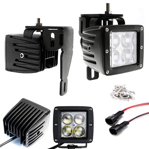 Projector LED Fog/Driving Lamp Kit For 1999-2016 Ford F250 F350 F450 Super Duty, Includes (2) 3-In 4D Optic Projector High Power CREE LED Pod Lights, Fog Lamp Location Mounting Brackets-iJDMTOY