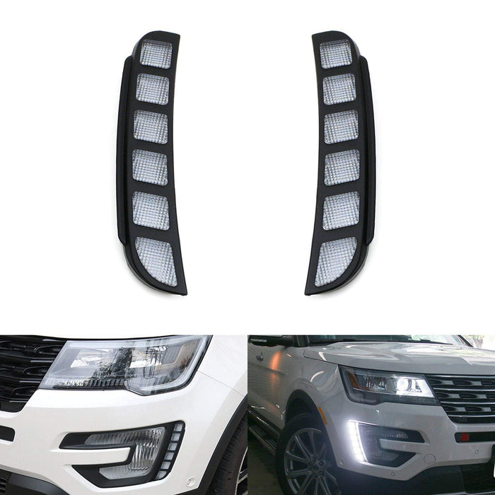 LED Daytime Running Lights Kit For 2016-2017 Ford Explorer, Direct Vertical Mount Powered by 6 Pieces of High Power Xenon White LED Diodes-iJDMTOY