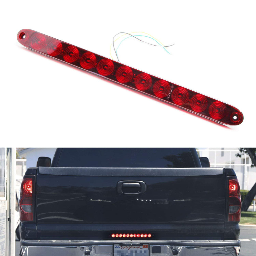 "15"" Truck Tailgate Red LED Running Light Bar For Chevrolet Dodge Ford GMC Nissan Toyota etc., Functions as Tail Light, Brake Lamp & Turn Signal Lights-iJDMTOY"