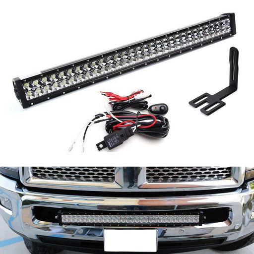 "Lower Grille 30"" LED Light Bar Kit For 2003-18 Dodge RAM 2500 3500 HD, Includes (1) 180W High Power LED Lightbar, Lower Bumper Opening Mounting Brackets & On/Off Switch Wiring Kit-iJDMTOY"