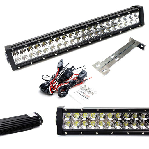 "Lower Bumper 20"" 120W LED Light Bar Kit For 1999-07 Ford F250 F350 Super Duty, Includes (1) Amber LED Strobe LED Lightbar, Lower Bumper Grille Mount Brackets & Relay Wiring Dual On/Off Switch-iJDMTOY"