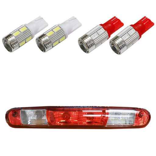 (4) High Power 10-SMD 921 912 920 168 T10 LED Replacement Bulbs For Chevrolet Ford GMC Honda Nissan Toyota Truck 3rd Brake Lamp (Two Xenon White, and Two Brilliant Red)-iJDMTOY