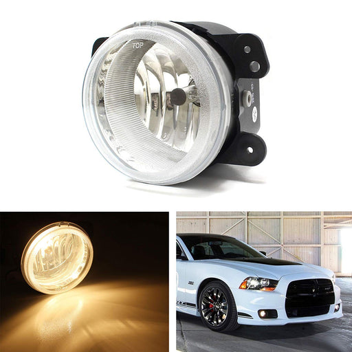 One Piece (1) Replacement Fog Light Lamp w/ H10 9145 Halogen Bulb For Jeep Wrangler, Grand Cherokee, Dodge Charger Journey Magnum, Chrysler 300, etc-iJDMTOY
