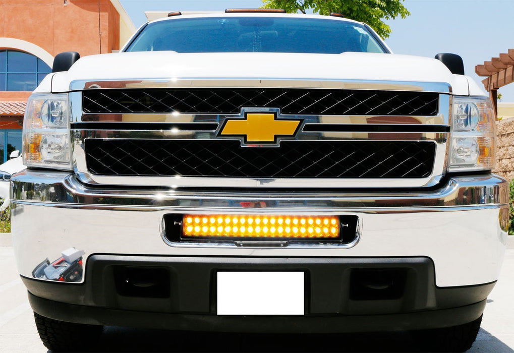 "Lower Grille Mount 20"" Dual Color LED Light Bar Kit For 2011-14 Chevy Silverado 2500 3500 HD, Includes (1) 120W LED Lightbar, Lower Bumper Opening Mounting Brackets & On/Off Switch Wiring Kit-iJDMTOY"