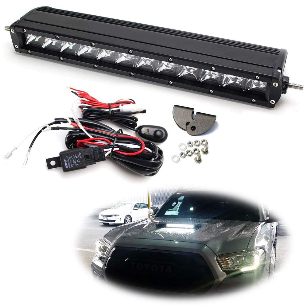 Hood Scoop Mount LED Light Bar Kit For 2016-up Toyota Tacoma, Includes (1) 60W High Power LED Lightbar, Hood Bulge Mounting Brackets & On/Off Switch Wiring Kit-iJDMTOY
