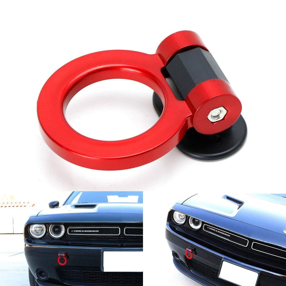 Red Tow Hooks Universal Car Modified Traction Round Ring Adhesive Towing Bars Trailer Hook Decoration